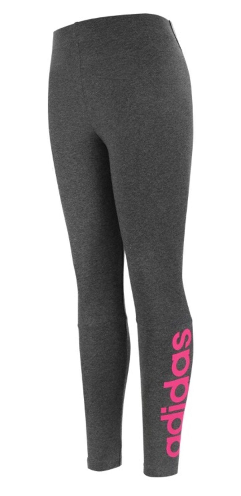 Adidas Women Essentials Linear Enge Hose Graues Training Yoga GYM Jersey CZ5740