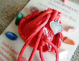 LOVE & ROMANCE CRYSTAL MEDICINE BAG Pocket Size Deerskin Pouch Reiki Gemstones