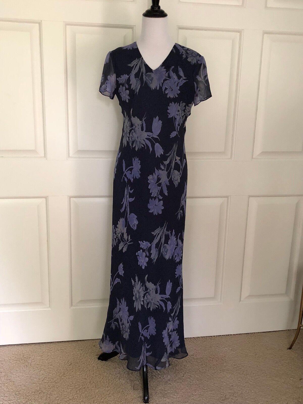 lila Blau  LAVENDER LONG SILK FLORAL DRESS FROM INC - Größe 6 - EUC