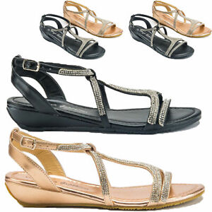 c348b66995ad LADIES NEW LOW WEDGE SANDALS WOMEN DIAMANTE FANCY SUMMER DRESS PARTY ...
