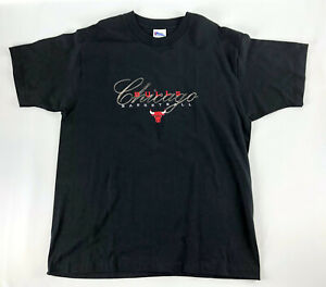 Vintage-Chicago-Bulls-Black-T-shirt-Pro-Player-Script-Single-Stitch-90s-Size-L