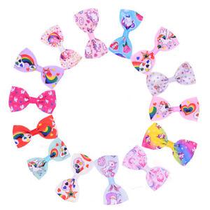 Unicorn-Pattern-Girls-3-034-Mini-Ribbon-Bows-Hairpin-Grosgrain-Hair-Bows-With-Clips
