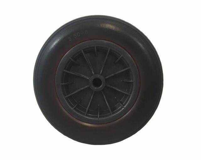 "14"" Puncture Proof BLACK Wheelbarrow Wheel ROUND Tyre 3.50-8 120 mm  AXLE"
