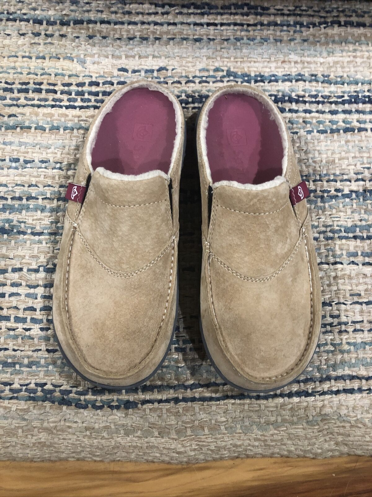 Spenco Orthotic Tan Suede Women's 5 M Cozy Slides Slip On Mule Loafer Moc Shoes