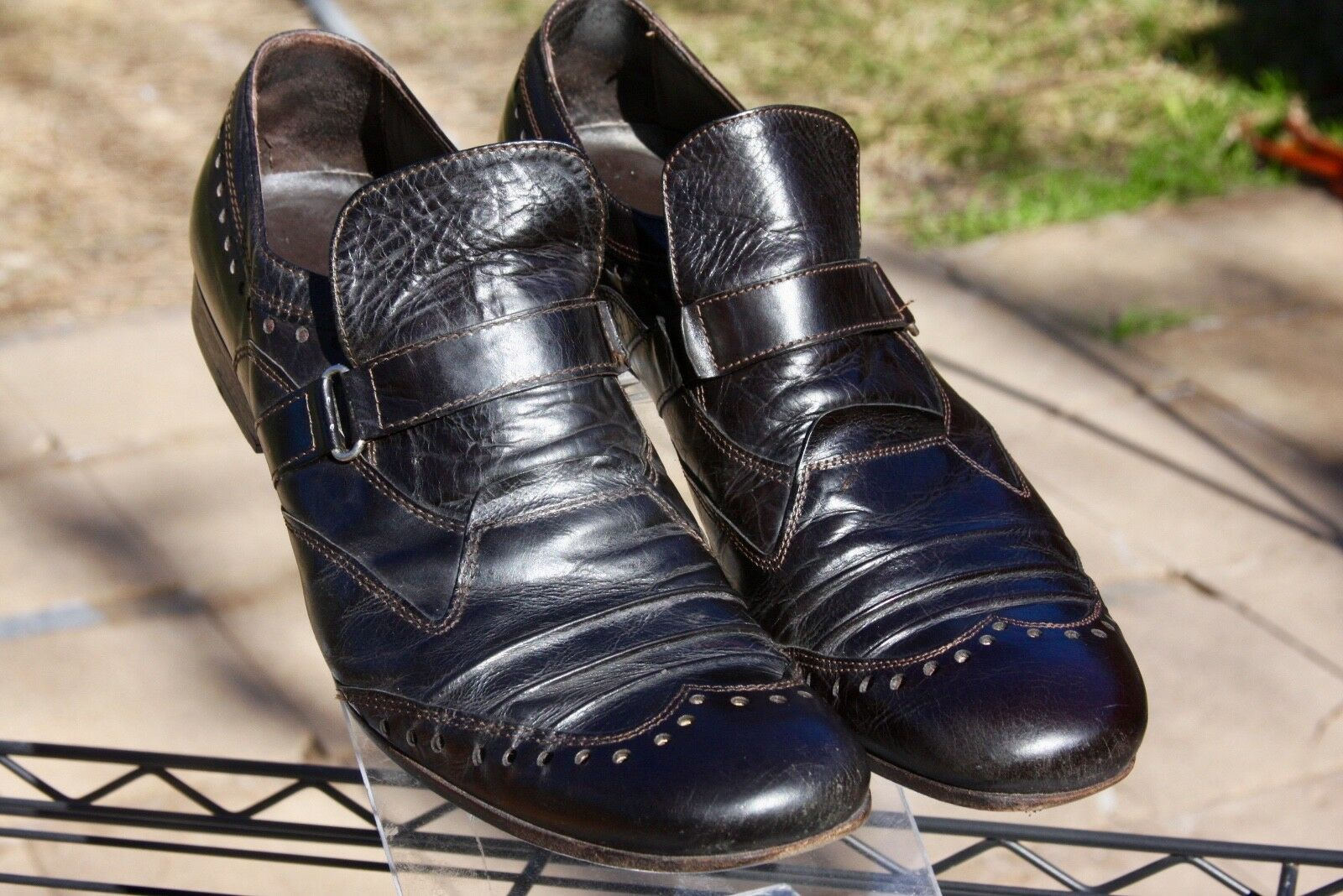 Alexander Hotto Leather Wingtip Brogue shoes Buckle Size 41   8