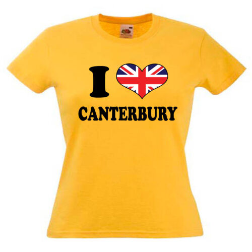 I Love Heart Canterbury Ladies Lady Fit T Shirt 13 Colours Size 6-16