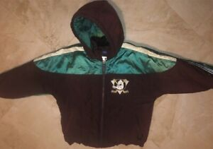 Anaheim-Mighty-Ducks-Full-Zip-Hooded-Jacket-Youth-Small-Purple-Embrodiered-NHL