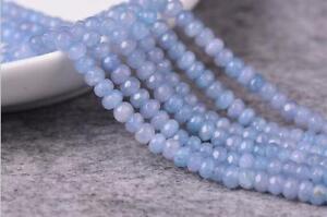 "15/"" 2x4mm Faceted Aquamarine Gemstones Loose Beads AAA"