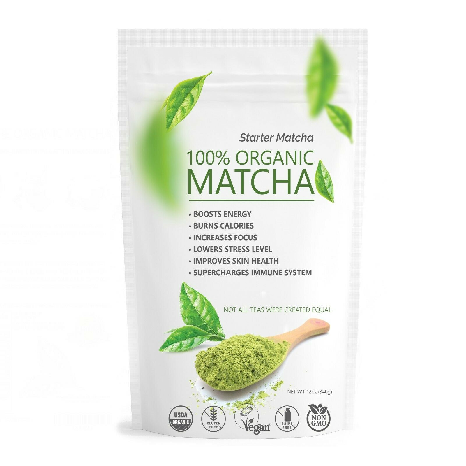 Starter Matcha Pure Organic Green Tea Powder - Culinary Grade 12oz