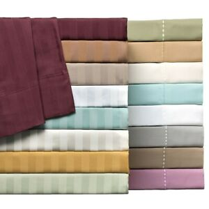 1000TC New Egyptian Cotton 6 Pc Bed Sheet  Set Solid//Striped All Colors US Sizes