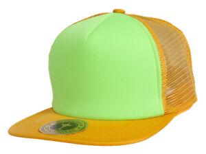TopHeadwear-Adjustable-Trucker-Caps-Orange-Neon-Green
