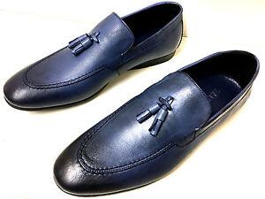 wholesale dealer 96c1c 37576 Details zu NEUE MODE BLUE MOCASSIN MOCASSINS MOKASSIN BLAU LEDER  HERRENSCHUHE SLIPPER 42
