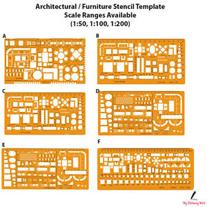 Superieur Details About Architectural Template Stencil Bathroom Kitchen Furniture  Layout Architect Scale