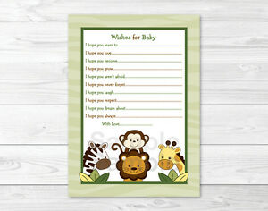 Details About Jungle Animals Safari Friends Printable Baby Shower Wishes For Baby Advice Cards