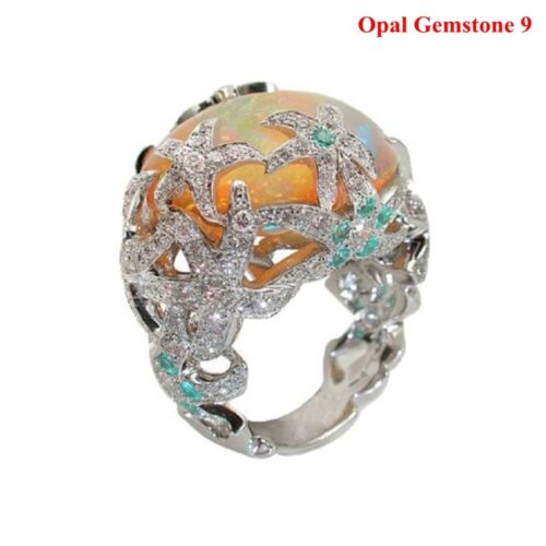 Turkish Handmade Jewelry 18K Multi-Color Natural Stone Ring Wedding Size 6-10
