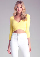 Bebe Womens Yellow Long Sleeve Wrap Top Bodycon Tight Fitted