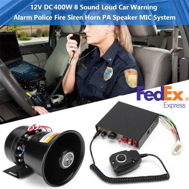 400W 12V Car 8 Sound Alarm Police Fire Loud Speaker PA Siren Horn MIC System Kit