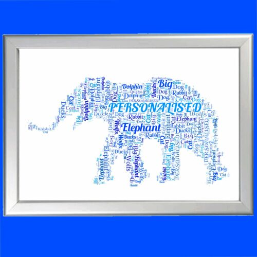 PERSONALISED WORD ART ELEPHANT FOR HER OR HIM ON BIRTHDAY OR CHRISTMAS