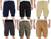 Arizona Mens Cargo Shorts Cotton Flat Front Sizes 26 28 29 30 31 32