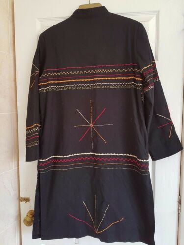 Moon Indigo Wth Duster 42 Bust Broderi Sze S Long Boho Sort Jacket Funky pdAwdqxgB