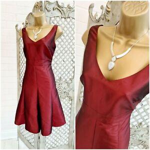 M&S Per Una 💋 UK 10 Red Burgundy Satin Fit & Flare Swing Dress ~Free Postage~
