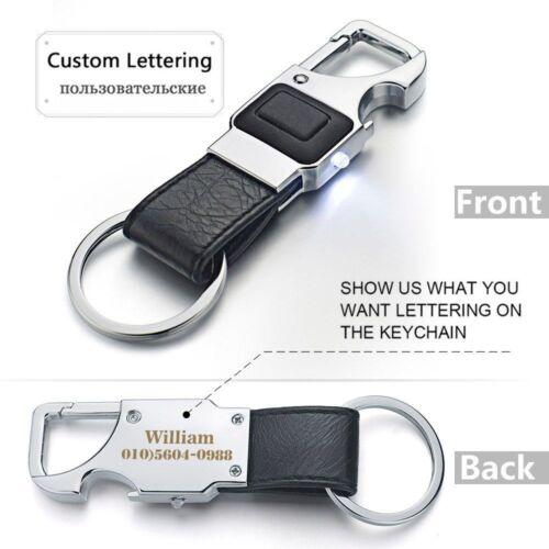 Custom Lettering Keychain LED Lights Beer Opener Bottle Multifunctional Leather