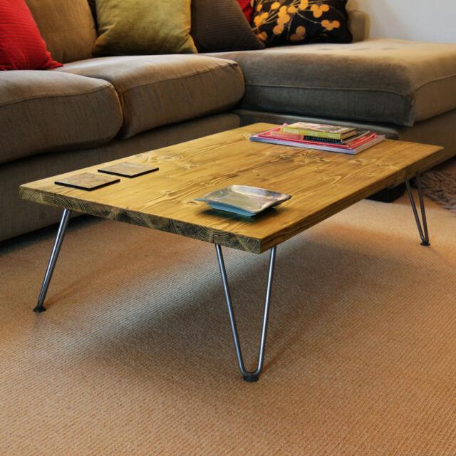 Hairpin Legs Coffee Table Scaffold Board Reclaimed Solid Wood Uk Handmade