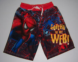 1b96b0c68e652 SPIDER-MAN MARVEL SPIDERMAN BOYS SWIM TRUNKS BOARD SHORTS SIZE 4 5 ...