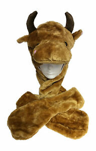 LIGHT-UP-BULL-Boys-Girls-Animal-Trapper-Hat-Scarf-Mitten-Combo-8-16-Years