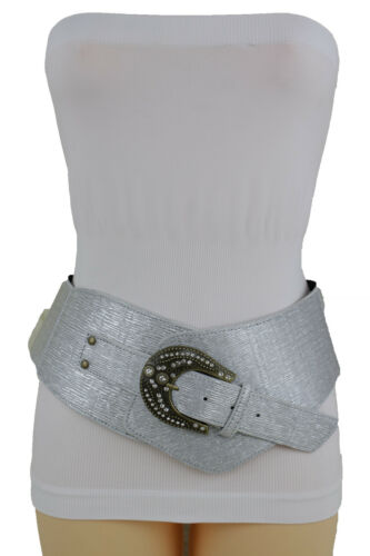 Flirty Women Metallic Shiny Silver Wide Western Belt Timeless Bling Buckle XL