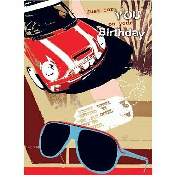 Red Mini with Sunglasses Male Birthday Card by first class male