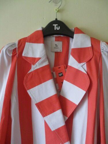 Stile Stripe Arancione '60 Laura Giacca 10 Cotone Gillings Frill anni Sz Bianco Nuovo ExqFA1