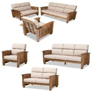 Mission-Style-Taupe-Walnut-Brown-Wood-Faux-Leather-Chair-Loveseat-Sofa-Set