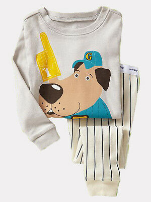 NEW GAP BASEBALL DOG LONG SLEEP SET PJ'S SIZE 6-12-18-24M 2T 3T 4T 5T