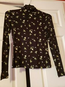 New H&M Women's Jersey Turtleneck Top, Size Small, Black Floral