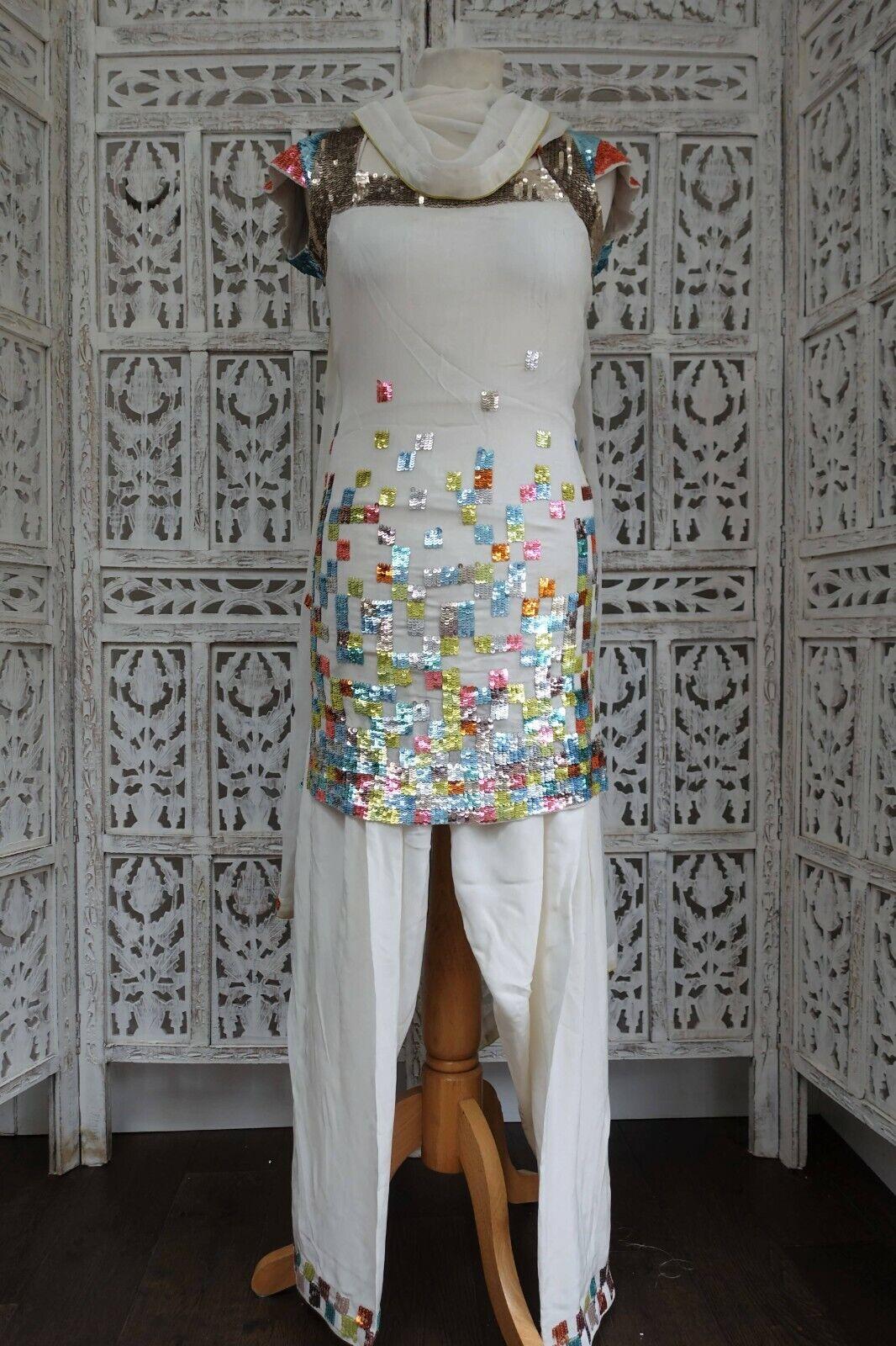 White silk sequinned Indian salwar kameez UK Size 6 / EU 32 – SKU17265