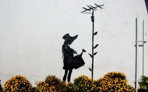 "Reproduction Banksy Art Print ./""flower-aerial/""Various Sizes A1 A2 A3 A4 Sizes"