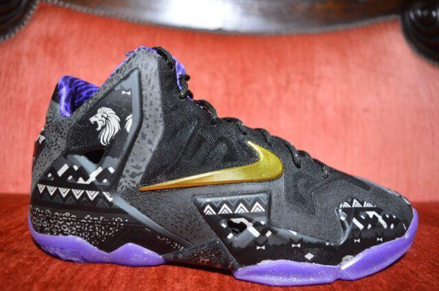 15f8fd6735b NEW Nike Lebron 11 BHM XI Black History Month GS GOLD PURPLE KD Size ...