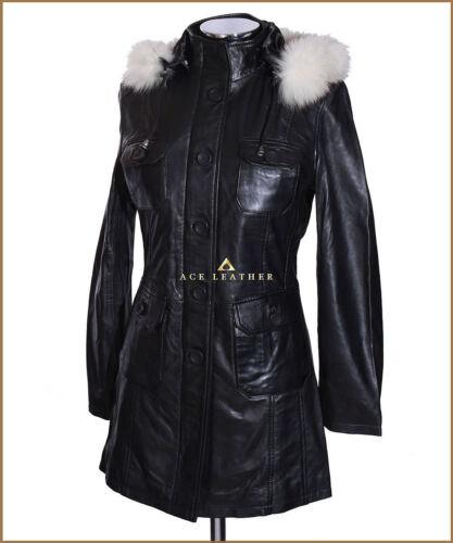 Black Capuche En En De Ladies Blanc Fourrure Manteau Michelle Peau Veau Parka En Blanche À Nappa daqpw7w