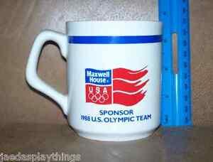 Olimpiadas-Taza-Maxwell-House-Vtg-1988-Calgary-Patrocinadores-9-5cm