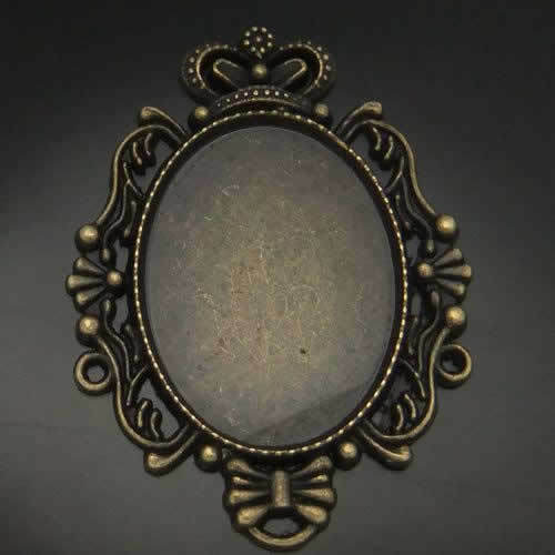 Antiqued Bronze Tone Oval Cameo Setting Charm Pendant 10pcs Inner:40*30mm