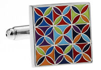 Classic Color Blooming Checkered Square Cufflinks Cuff Links