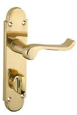 Brass Finish Epsom Scroll Bathroom Door Handles /& Brass Plated Bath Locks D9