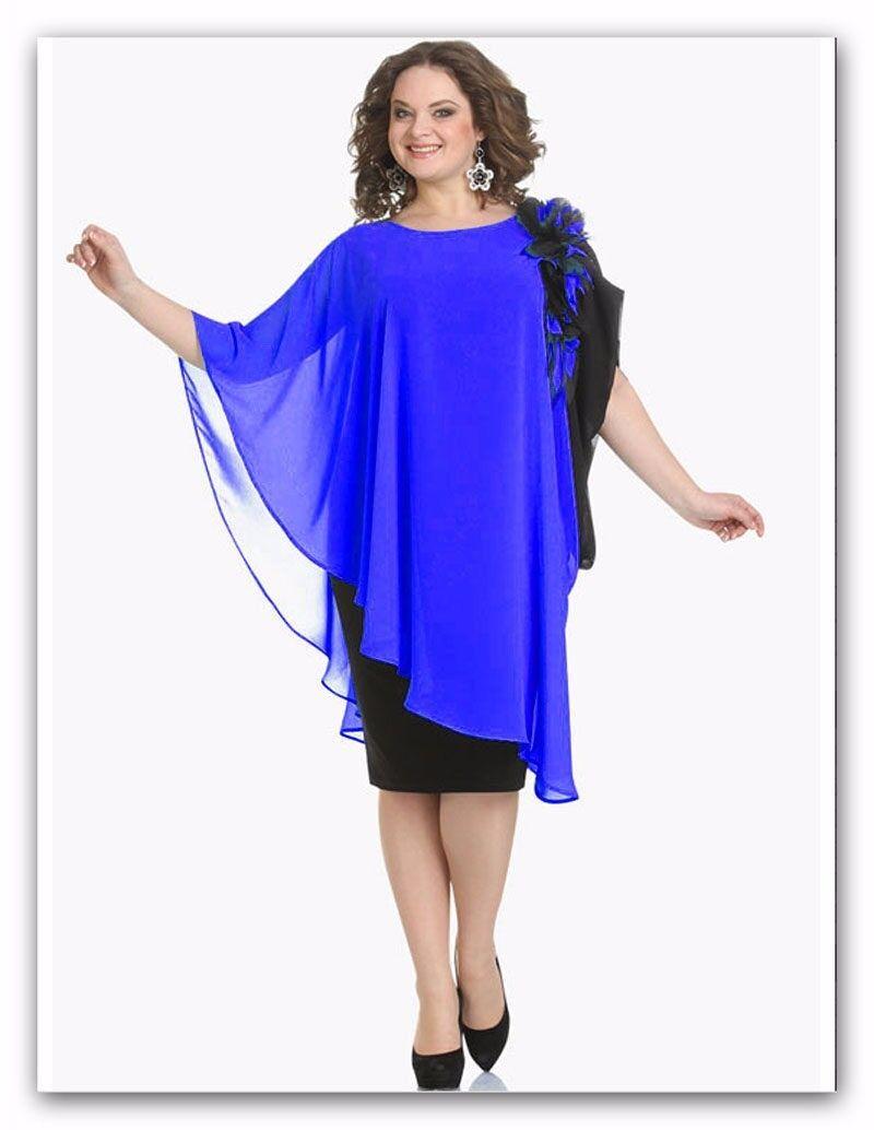 Abendkleid Big Größe Gr.54,56,58 . Farbe Blau mit Schwarz