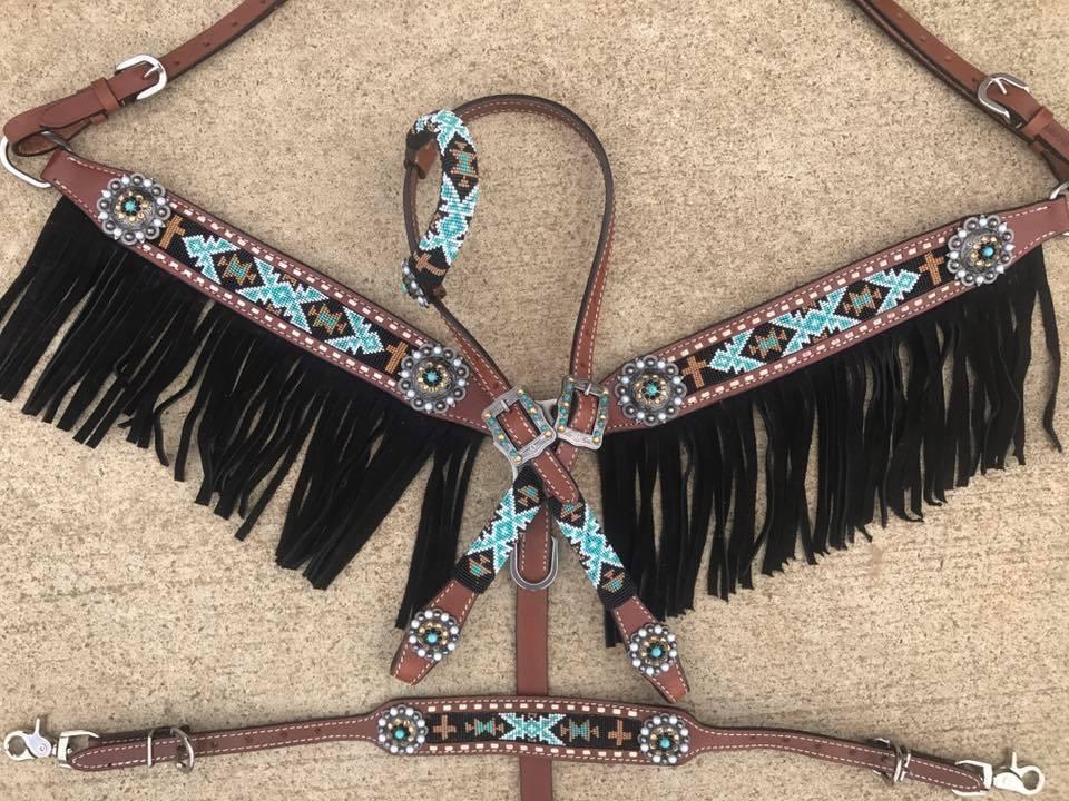 Caballo Occidental con cuentas de cuero Navajo Brida + pecho Collar Con Flecos 4pc conjunto de tachuela