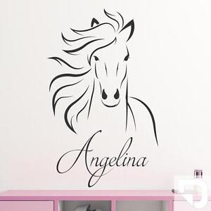 wandtattoo pferd mit wunschname pferdekopf f rs. Black Bedroom Furniture Sets. Home Design Ideas