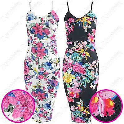 GemäßIgt Ladies Strappy Colour Floral Print Knee Length Womens Bodycon Look Midi Dress Elegantes Und Robustes Paket