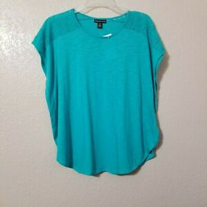 American-Living-Top-Blouse-Aqua-Blue-Dolman-Sleeve-Size-Medium