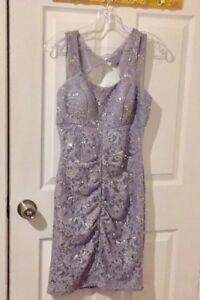 Women-039-s-Fiesta-Fashion-Silver-Lace-Sequin-Mini-Dress-Size-S