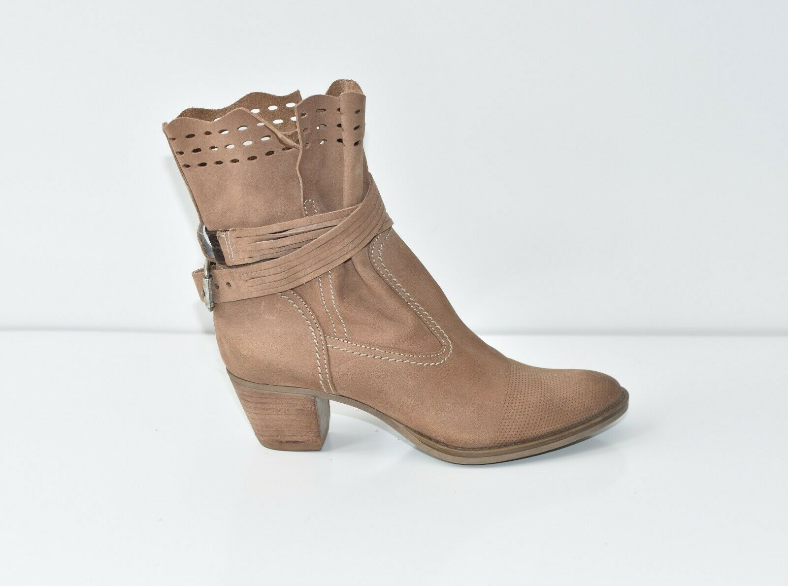 Brown Real Leather TAMARIS Ankle Boots Mid Heel Women's shoes Booties Size UK4